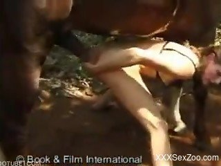 Outdoor bestiality sex with a stallion