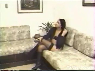 Stockings-clad brunette gets fucked by a hung stud
