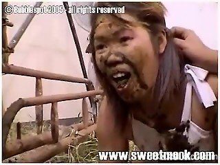 Scat video with Asian slut eating horse shit naked